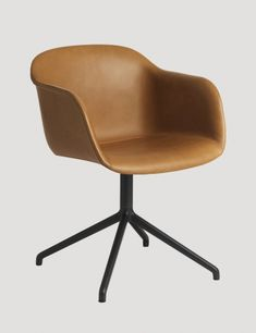 Fiber - Modern Scandinavian Design Shell Chair by Muuto - Here in Cognac with a swivel base #muuto #muutodesign