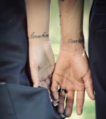 So cute - matching tattoos (i love him, i love her).