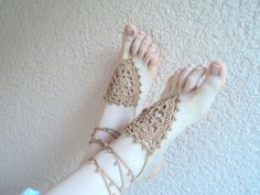 BRIDAL SANDALS. Bridesmaid sandals. Athena barefoot sandals, camel bare foot jewelry, yoga, leg decoration, anklet, hippie sandals by beyazdukkan on Etsy https://www.etsy.com/listing/153247805/bridal-sandals-bridesmaid-sandals-athena