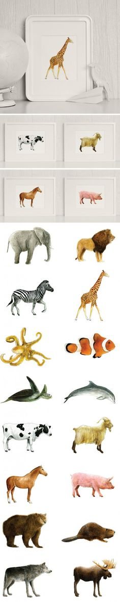 Look for less if you don't want to splurge on similar styles. $5 Printable watercolor animals by Mike Loveland for caravanshoppe.com