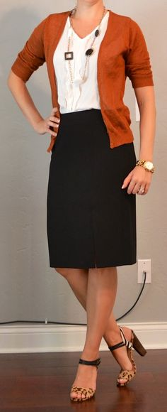 outfit posts: rust cardigan, black pencil skirt, white ruffle blouse | Outfit Posts Dynamic