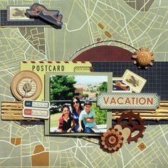 Vacation Scrapbook Page- could be good inspiration for a report layout page.