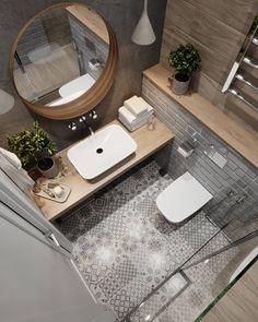 Wooden worktops give the bathroom a charming bathroom and warm the bathroom.- Holzarbeitsplatten verleihen dem Badezimmer ein charmantes Bad und wärmen das D… Wooden worktops give the bathroom a … - Modern Bathroom Tile, Bathroom Design Small, Bathroom Interior Design, Bathroom Flooring, Tiled Bathrooms, Serene Bathroom, Wooden Bathroom, Patterned Tile Bathroom Floor, Wall Tiles