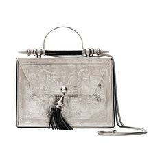 Palmette Flower Minaudière Square Silver Okhtein ($590) ❤ liked on Polyvore featuring bags, handbags, clutches, silver purse, white purse, square purse, white handbags and silver handbags