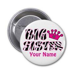 Big Sister Princess Zebra Print Button