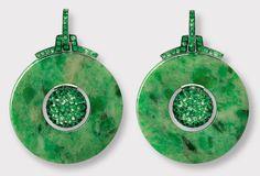 Asian Influenced Earrings by Hemmerlein Tsavorite Garnets, Jade, White Gold and Copper.