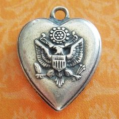 Vintage 1940's UNITED STATES USA GREAT SEAL EAGLE PUFFY HEART sterling charm from A Genuine Find