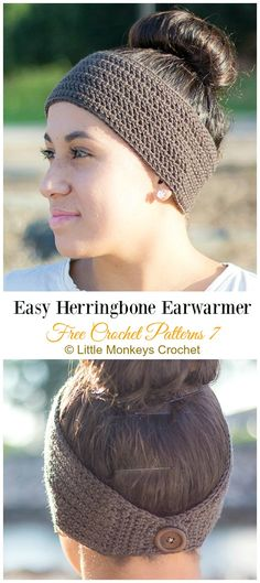 Easy Herringbone Earwarmer Crochet Free Pattern - Trending Women Headband & Free Patterns Trending Women Ear Warmer Free Crochet Patterns: Crochet Flower Ear Warmer, Crown Earwarmer, Knit Look Earwarmer, BOHO Earwarmer/Headband, girls gifts Crochet Ear Warmer Pattern, Crochet Beanie Pattern, Crochet Patterns, Free Crochet Headband Patterns, Easy Patterns, Crochet Tutorials, Pattern Ideas, Crochet Stitches, Crochet Projects