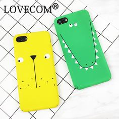 LOVECOM For iPhone 7 6 6S Plus For iPhone 7 Plus Case Scrub Cartoon Dinosaurs Back Cover Full Body PC Hard Phone Cases YC2204