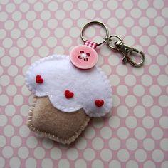 Vanilla Cupcake Keyring Charm    Would be a cute  gift
