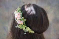 Flower crown, blush flower crown, bridal floral crown, flower girl crown, bridesmaid floral headpiece, pink flower crown by WelcomingGraceCrafts on Etsy