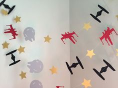 STAR WARS Inspired Birthday Party Decorations Star Wars Garland Tie Fighter Star Wars Party Decor Star Wars Baby Shower Decorations
