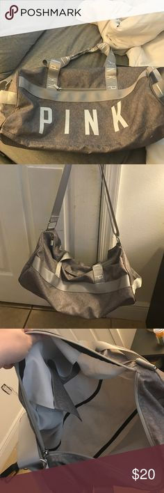Victoria secret pink gym bag Grey and white gym bag, used about 2-3 times. Practically new Victoria's Secret Bags Travel Bags