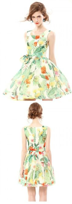 Tropical Print Pouf Dress with Tie Wais