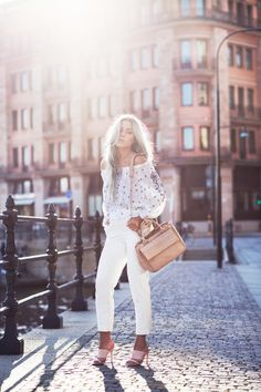 Take inspiration from Angelica Blick and wonderful in white this summer - just pair these trousers with pink heels and an off the shoulder top!Shoes: ASOS, Trousers: Topshop, Bag: Zara, Top: H&M