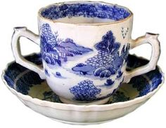 Two-handled cup & saucer by Jingdezhen Porcelain c. 1750 Porcelain