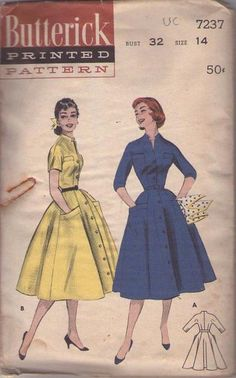 MOMSPatterns Vintage Sewing Patterns - Butterick 7237 Vintage 50's Sewing Pattern GORGEOUS Lucy Full Flared Gored Skirt Front Buttoned Coat ...