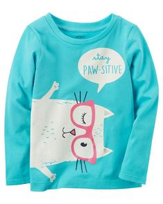 Toddler Girl Stay Paw-sitive Graphic Tee from Carters.com. Shop clothing & accessories from a trusted name in kids, toddlers, and baby clothes.