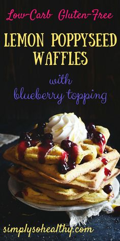 These Low-Carb Blueberry Lemon Poppyseed Waffles make a great breakfast or brunch. This recipe can be part of a low-carb, ketogenic, Atkins, gluten-free, lc/hf, or Banting diet.
