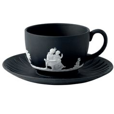 Wedgewood Jasper Classic White on Black Teacup & Saucer $100.00