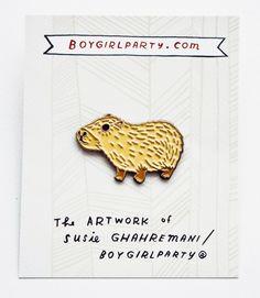 Cute Capybara Pin by Boygirlparty http://shop.boygirlparty.com/collections/_new/products/capybara-pin-enamel-pin-by-boygirlparty?variant=21542536391