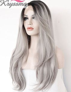 AmazonSmile : K'ryssma 2 Tones Synthetic Lace Front Wig Ombre Hand Tied Straight Silver Wig Dark Roots Heat Resistant Fiber Hair 22 Inches : Beauty