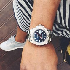 Striking blue dial #yachtmaster for #mondayblues This #rolex #timepiece is rugged but beautiful.  #Summer in #Budapest