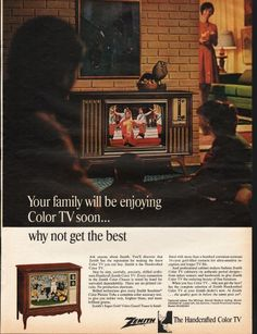 "1966 ZENITH COLOR TV vintage magazine advertisement ""why not get the best"" ~ Your family will be enjoying Color TV soon... Why not get the best - Ask anyone about Zenith. You'll discover that Zenith has the reputation for making the finest Color TV ..."
