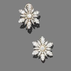 A pair of diamond earrings #SNOWFLAKE#