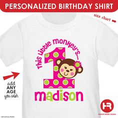 Girl Monkey Birthday Shirt or Bodysuit  by HeatherRogersDesigns,