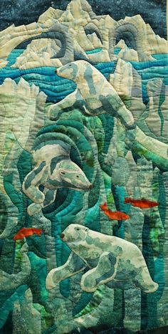"""Polar Bear Plunge"" by Judith Panson.  Canadiana Traveling Exhibit by the Fibre Art Network. Quilt Symposium Manawatu 2015 (New Zealand).  Photo by Martha Wolfe."