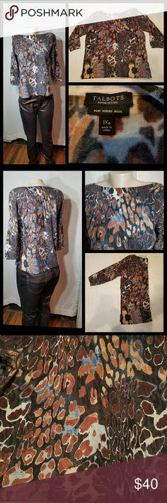 Talbots Woman Petites 1XP NWOT Talbots  New no tags   Women top Animal print Colorful: brown/denim blue/black/light sky blue/rustic brown Boat neckline  3/4 long sleeves Size 1XP Pit to pit 20 Length 22 Pure merino wool Made in China Talbots Tops Tees - Long Sleeve