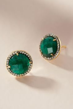 How beautiful! Closet Accessories, Winter Accessories, Handbag Accessories, Jewelry Accessories, Emerald Earrings, Stud Earrings, Green Earrings, Piercings For Girls, Diamond Are A Girls Best Friend