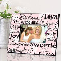 Personalized Jr. Bridesmaid Frame - Pink Dots