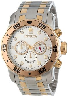 Invicta Men's 13671 Pro Diver Chronograph Silver Dial Two Tone Stainless Steel Watch -- Be sure to check out this awesome product. (This is an Amazon Affiliate link and I receive a commission for the sales)