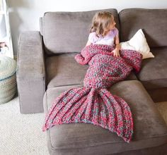 Fashion Creative Knitting Mermaid Tail Child Baby Blanket Girls Boys Sleep Robes Coach Bed Blankets Mermaid Cosplay costoms