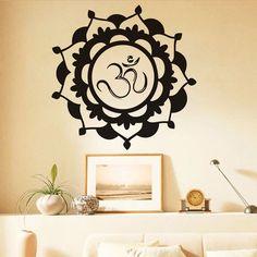 Yoga OM Symbol Mandala Flower Wall Sticker Islam Vinyl Decal Art Home Decor
