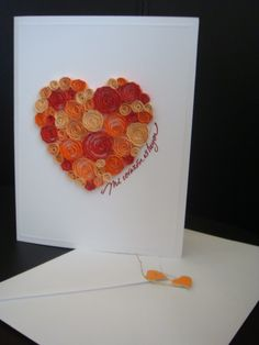 Quilling Orange Heart from universodepapel.es