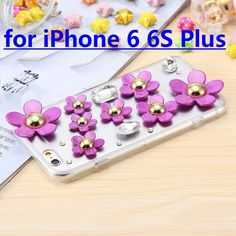 with Dust Plug ! Beautiful Flower Woman Case for iPhone 6 6S & 6 6s plus Soft TPU Clear Back Cover Bling Rhinestone Mobile Bag