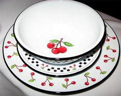 Cherry enamelware dishes <3 <3