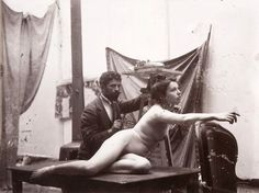 Alphonse Mucha, The artist and his model, c. 1900.