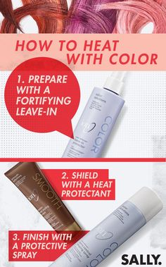 Protect bright hair color from the heat with ion. Use hair care and sprays that enhance hair's health, but also act as a heat-protectant too. Start with a fortifying leave-in spray, shield with a nourishing protectant cream, then finish with a protective spray that adds shine. Root Touch Up, Bright Hair Colors, Permanent Hair Dye, Sally Beauty, Professional Hairstyles, Hair Health, Sprays, Hair Type, Healthy Hair