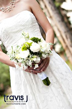 White and Green Wedding Flowers, Bride Bouquet, Travis J Photography, Colorado