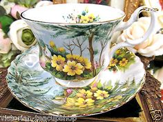 ROYAL ALBERT TEA CUP AND SAUCER COUNTRY SCENE PRIMROSE HILL TEACUP PATTERN
