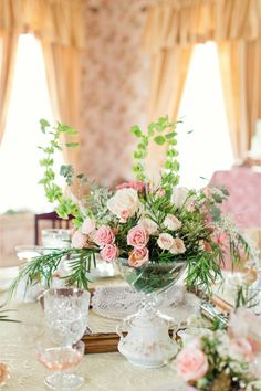 centerpiece for tea party themed bridal shower / Bradley James Photography