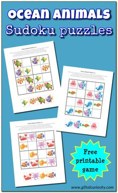 Free printable Ocean Animals Sudoku Puzzles || Gift of Curiosity