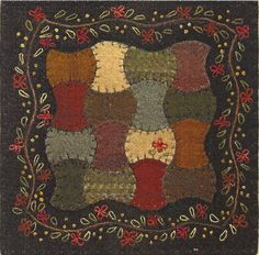 Primitive Folk Art Wool Applique Pattern:  APPLE ORCHARD. $5.25, via Etsy.