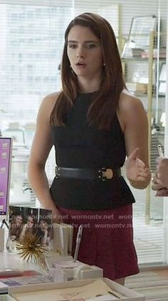 Jane's black top with lace-up back and pleated mini skirt on The Bold Type.  Outfit Details: https://wornontv.net/73902/ #TheBoldType