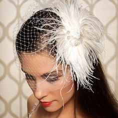 Art Deco feather and veil headpiece, from Gilded Shadows