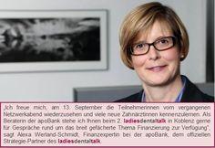 Finanzexpertin Alexa Werland-Schmidt berät Sie beim 2. ladies dental talk in Koblenz.